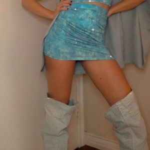 Washed Denim Thigh High Boots